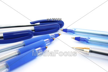 Blue Pens Stock Photo