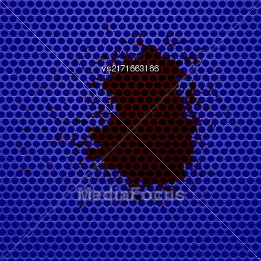 Blue Perforated Background And Blood Splatters. Blue Metal Circle Pattern Stock Photo