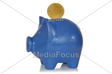 Blue Piggy Bank With Fifty Eurocents Stock Photo