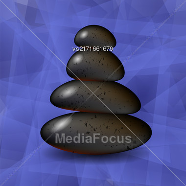 Blue Polygonal Spa Background With Stones. Spa Stones Stock Photo