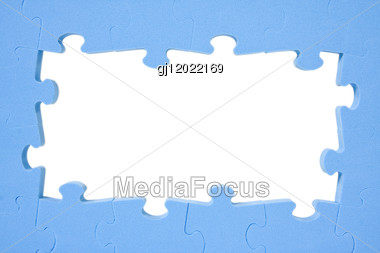 Blue Puzzle Frame With Space For Text Stock Photo