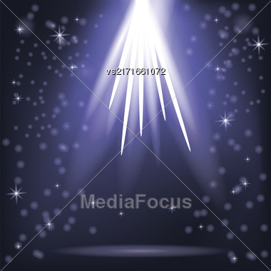 Blue Rays Of Magic Lights On Blurred Starry Background. Night Sky Stock Photo