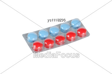 Blue And Red Tablets Stock Photo