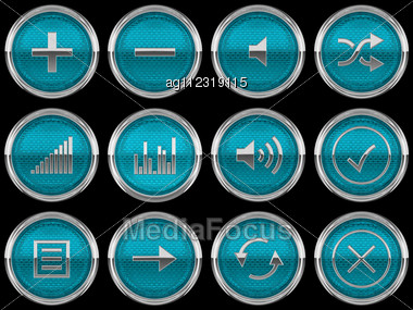 Blue Round Control Panel Buttons Or Icons Isolated On Black Stock Photo