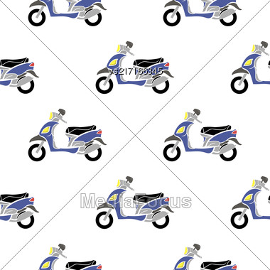 Blue Scooters Isolated On White Background. Seamless Minibike Pattern Stock Photo