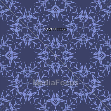 Blue Seamless Geometric Greek Ornament. Square Wave Forms In Greek Style Stock Photo