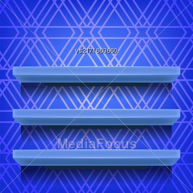 Blue Shelves On Ornamental Blue Lines Background Stock Photo