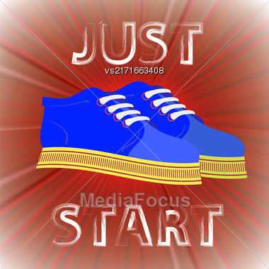 Blue Shoes Banner With Positive Quote On Red Background. Motivation To Action Stock Photo