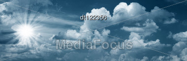 Blue Skies With Bright Sun As Abstract Backgrounds Stock Photo