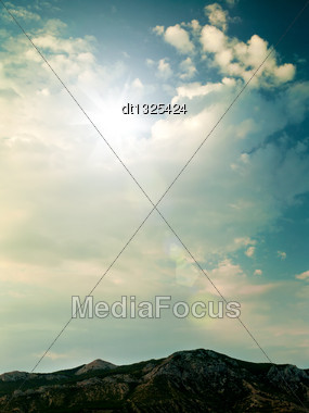 Blue Skies Under The Mountains, Natural Landscape Stock Photo