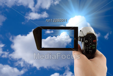 Blue Sky Background With White Clouds Recording By Camcorder Stock Photo
