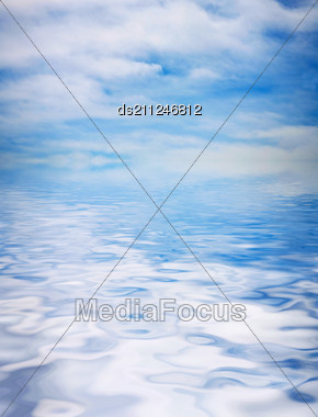 Blue Sky Covered With The Film Of The Clouds And Reflection In Water Stock Photo