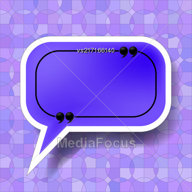Blue Speech Bubble Isolated On Blue Ornamental Background Stock Photo