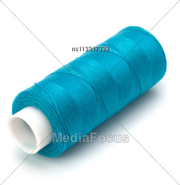 Blue Spool Of Thread Isolated On White Background Stock Photo
