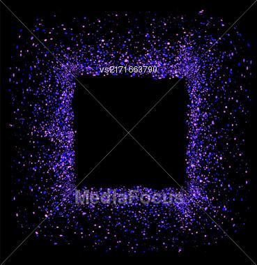 Blue Square Frame Isolated On Black Background Stock Photo