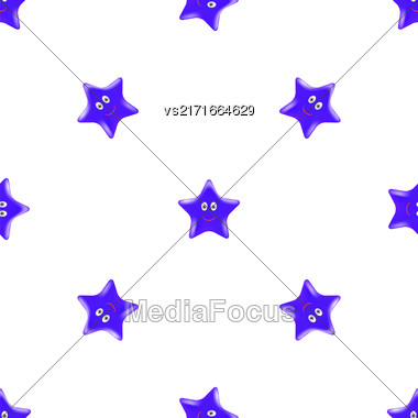 Blue Star Seamless Pattern. Smiling Star Isolated On White Background Stock Photo