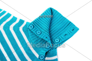 Blue Sweater On White Background. Stock Photo