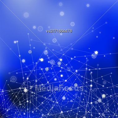 Blue Technology Background With Particle, Molecule Structure. Genetic And Chemical Compounds. Communication Concept. Space And Constellations Stock Photo