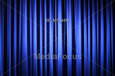 Blue Theater Curtain Stock Photo