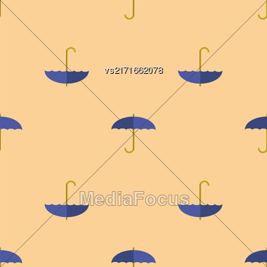 Blue Umbrella Seamless Pattern. Autumn Umbrellas Background Stock Photo