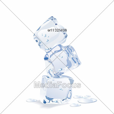 Blue Vector Ice Cubes Isolated On White Background Stock Photo