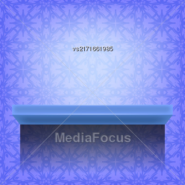 Blue Wall Shelf On Ornamental Asian Background Stock Photo