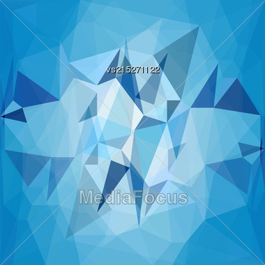 Blue Water Polygomal Background. Blue Triangles Pattern Stock Photo