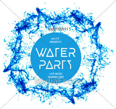 Blue Water Splash Isolated On White, Vector Background Stock Photo