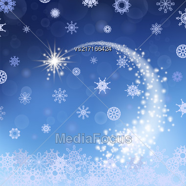Blue Winter Background. Falling Star. Snowflakes Pattern Stock Photo