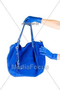Blue Women Bag At Hand Stock Photo