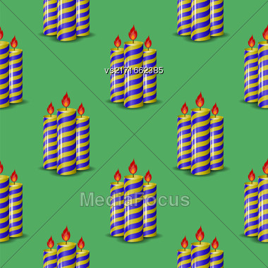 Blue Yellow Wax Candles Seamless Pattern Isolated On Green Background. Burning Candles Set Stock Photo