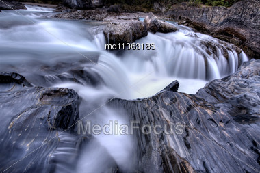 Blurred Water Flowing British Columbia Canada Stock Photo