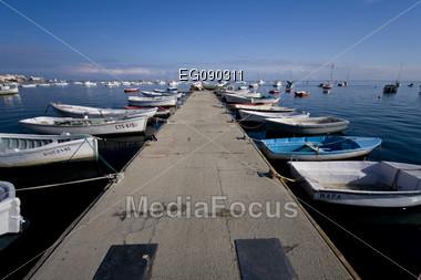 Boats in the harbor. Mediterranean coast in Spain Stock Photo