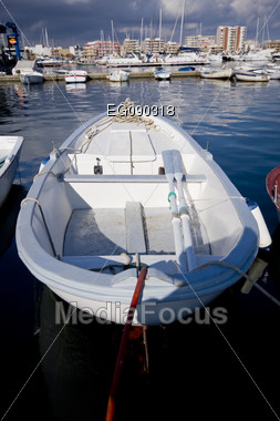Boats in the harbor. Mediterranean coast in Spain Stock Photo