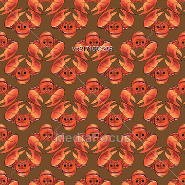 Boiled Lobster Seamless Pattern. Cooked Sea Food Background Stock Photo