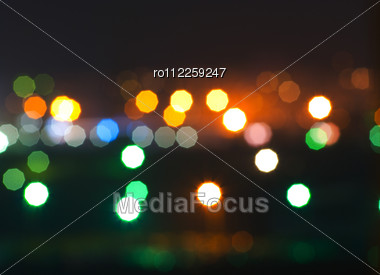 Bokeh Lights On Black Background Stock Photo
