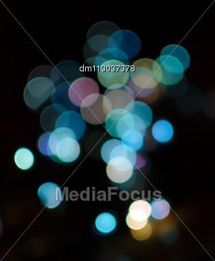 Bokeh Of Blue Christmas Lights Stock Photo