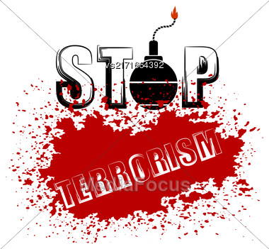 Bomb Icon On Red Grunge Background. Stop Terrorism Banner Stock Photo