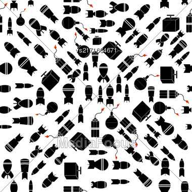 Bomb Silhouettes Seamless Pattern. Military Weapon Background Stock Photo