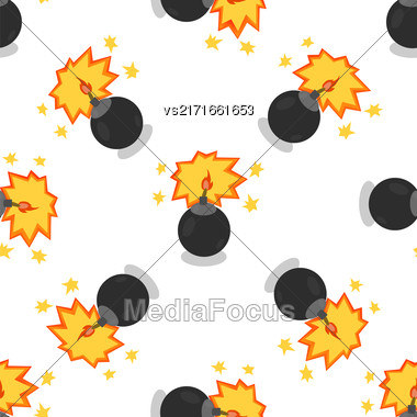 Bomb Isolated On White Background. Weapon Seamless Pattern Stock Photo
