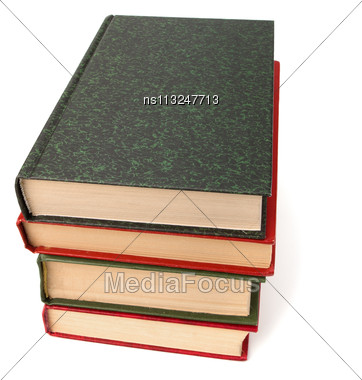 Book Stack Isolated On White Background Stock Photo