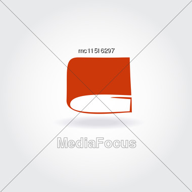 Book Store Or Library Logo Sign. Open Red Book Icon Stock Photo