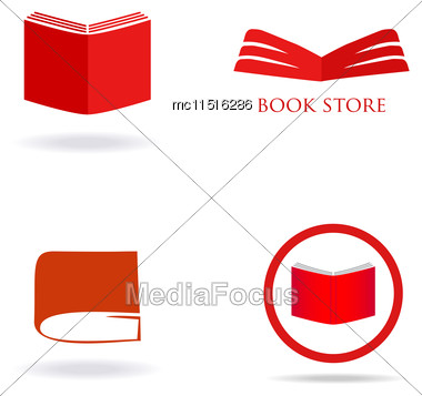Book Store Or Library Logo Signs Set. Red Book Icons Stock Photo