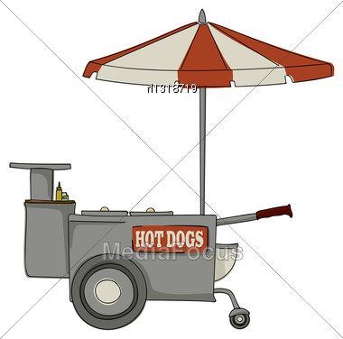 Booth Stand Hot Dog On White Background Stock Photo