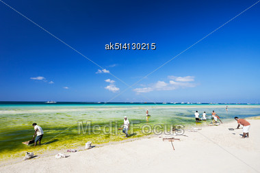 BORACAY, PHILIPPINES - MARCH 01: Unidentified People Cleaning White Beach On March, 01, 2013, Boracay, Philippines. White Beach Is A Most Popular Beach On Boracay Island Stock Photo
