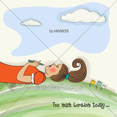Bored Girl Lying On Grass, Vector Illustration Stock Photo