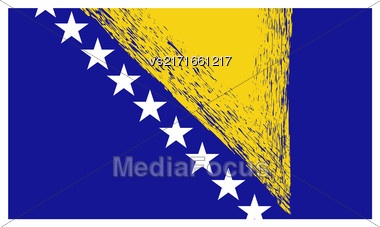 Bosnia And Herzegovina Flag Isolated On White Background Stock Photo