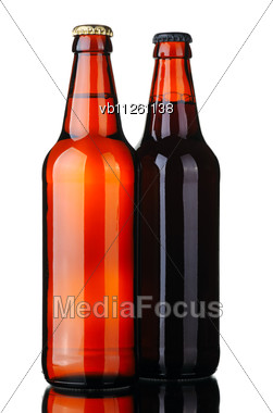 Bottle Of Lager And Dark Beer From Brown Glass Stock Photo