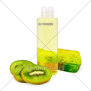 Bottle Of Shower Gel, Two Bars Of Homemade Green Soap, A Few Slices Of Kiwi Stock Photo