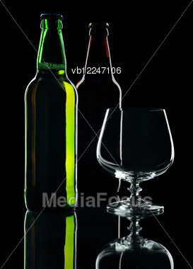 Bottles Of Lager Beer From Green And Brown Glass Stock Photo